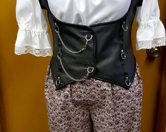Steampunk Leather Underbust Vest