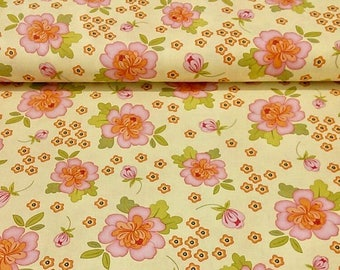 By The HALF YARD - Sugar Blossom by Amy Hamberlin of Kati Cupcake for Henry Glass, Pattern #9333 Large Pink and Orange Flowers on Yellow