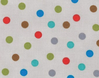 "30"" REMNANT - Bungle Jungle by Tim and Beck for Moda Fabrics, #39505-19 Grey Bungle Dot, Gray, Red, Blue, Brown, Green 1/4"" Polka Dots"