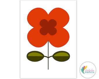 Printable Scandi Flower Set - Retro Design Printable for Kitchen
