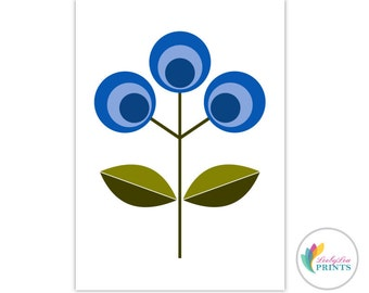 Printable Blue Flower - Scandinavian Flower Print  (blue) -  Retro Design Printable for Kitchen, Scandi Wall Art, Scandinavian Printable