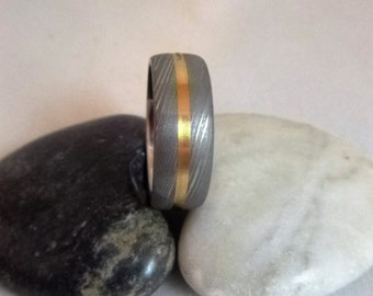Damascus Steel Gold Inlaid Unique Wedding Ring Hand Made in Scotland,UK