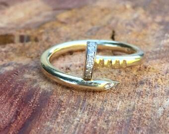 14K Gold Diamond Nail Ring