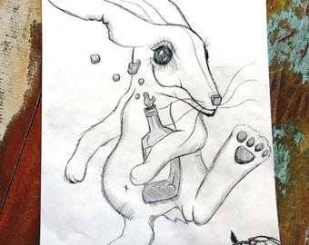 Drunk - Rabbit - New Home - Contemporary - Native American - Art Therapy - Unique - Mental Health - Black Ink - Wall Art