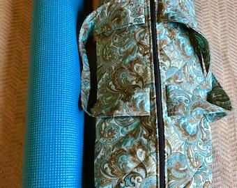 Yoga Mat Bag, Yoga Bag, Quilted Duffle Bag, Quilted Yoga Mat Bag, Quilted Yoga Bag, Blue Yoga Mat Bag, Paisley Yoga Mat Bag