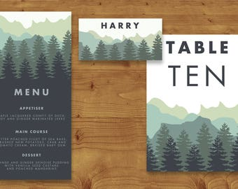 Blue Green Mountains Place Cards, Table Numbers, Menu Cards - Wedding - Rustic Wedding - Table Name - Name Card - Wedding Stationery