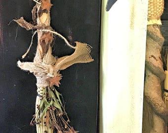 Rustic Wedding Broom,Primitive Witch's Broom Besom,Decorated Broom,Decorated Besom,Ritual Besom,Primitive Rusty Stars Decorative Broom