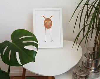 Crying egg, cute nursery wall art, children room funny decor, modern nursery, kids room poster, minimalist kids art, adorable nursery decor