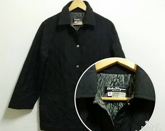Vintage 90s Quilted Jacket Salvatore Ferragamo snap button down with tiger stripe design inside/20.5x30.5/black/small