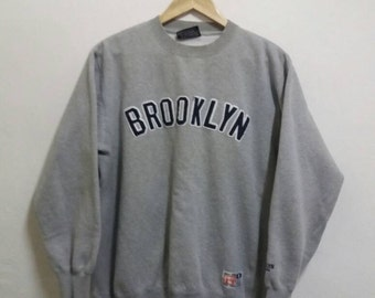 Vintage Brooklyn Sweatshirt spellout embroidered/grey/large/hiphop/baseball