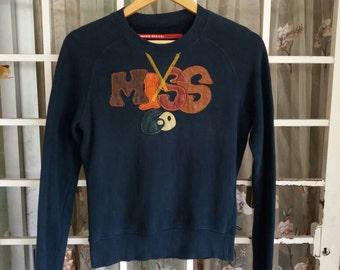 Vintage miss sixty sweatshirt spellout embroidery/black/medium/ladies/sportwear