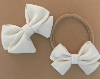 Signature Bow in Ivory -Girls Fabric Bow - Baby Girl Headband - Toddler Bow - Choose Nylon Headband or Clip