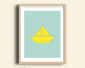 PRINTABLE art, nautical print, prints, yellow boat Print, boat wall hanging, nursery art, gender neutral baby gift nursery decor boat poster