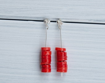 Orange coral earrings - retro inspiration -  gifts for her / valentine's gift