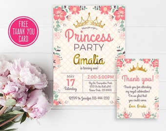 Floral princess birthday Invitation, Princess party invite, Princess first birthday invitation, 1st 2nd birthday, Pink Flowers invitation