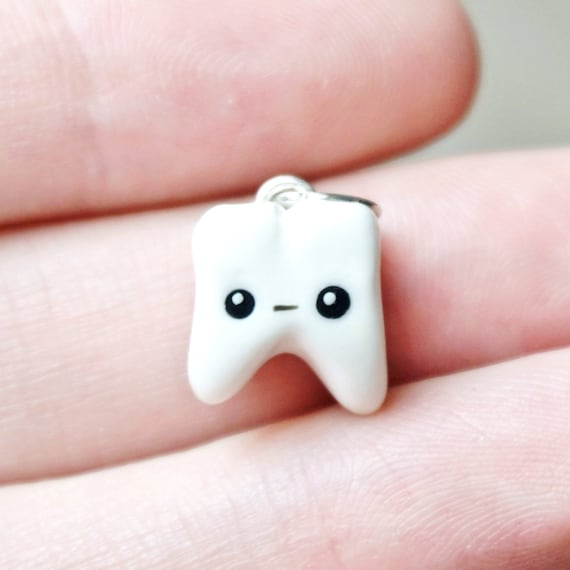 Kawaii Tooth Charm - Polymer Clay - Handmade - Tooth Gift - Dental Gift - Dental Student - Dental Assistant - Dentist