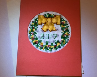 New Year Christmas Cross Stitched Card