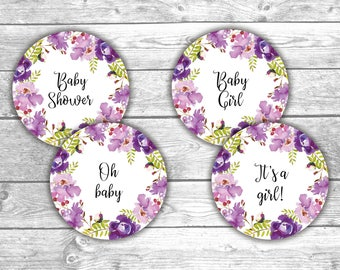 DIGITAL FILE - Cupcake Toppers - Baby Shower - Floral 2, Printable, Games, Activities, Flower Design, Floral