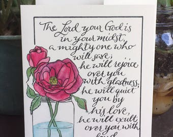 Zephaniah 3:17   blank cards with flowers