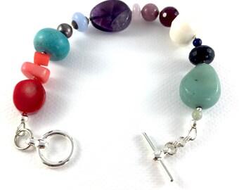 Rainbow semi-precious stone bracelet