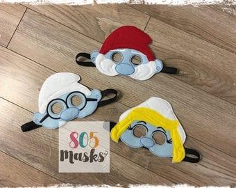 Smurfs Smurf Inspired Masks, Kids Masks, Kids Costume, Smurfette Mask, Papa Smurf Mask, Brainy Smurf Mask, Smurf Birthday, Halloween Masks