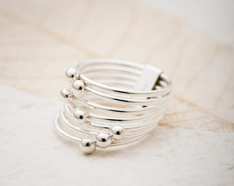 Bubble ring, Linked Ring, Ball Ring, Sterling silver Ring