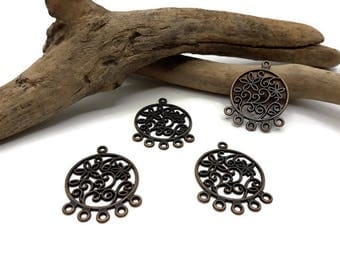 10 bronze - Chandelier flower connectors - connector-chandelier earring - A150