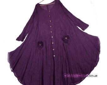 Wrinkle Gauze Cotton Flower Motif Pocket Maxi Flare Dress Cotton100% Boho Natural Peasant Asian