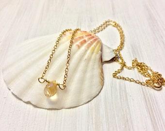 Dainty yellow citrine necklace, yellow citrine necklace, yellow gemstone necklace, minimalist citrine necklace, november birthstone