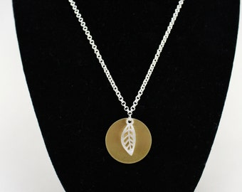 Mixed Metal Leaf Charm Necklace