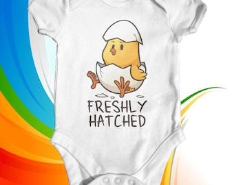 Freshly Hatched Chick Baby Bodysuit | Unisex Baby Bodysuit | Cute Baby Clothes | Funny Baby Bodysuit | Baby Shower Gift | Animal Bodysuit