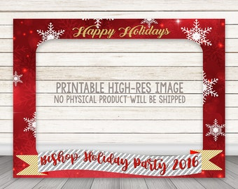 PRINTABLE Happy Holidays Photo Booth Frame, Christmas Photo Booth Frame, Photo Booth Prop, Merry Christmas Photobooth Prop, Red Snowflakes