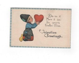 Vintage Valentine's Day postcard. Dutch boy. Antique 1913 collectible greeting card ephemera