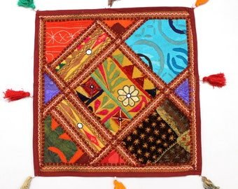 Handmade Hippie Gypsy Home Decor Ethnic Multi color Embroidered Hippy Patchwork Bohemian Pillow Shams Couch Cushion Cover Case G822