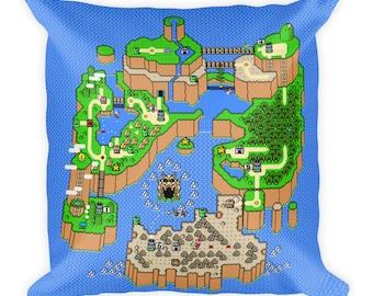 Super Mario World Dinosaur Land Map Pillow