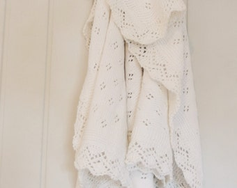 Ready to Ship Hand Knitted Baby Blanket - lace baby blanket - Christening baby blanket