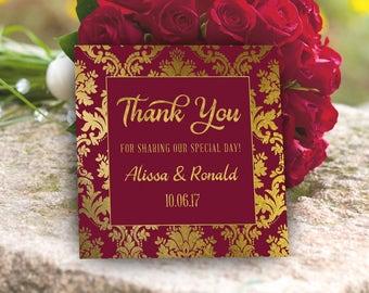 Maroon And Gold Wedding Favor Tag PRINTABLE Burgundy Gift