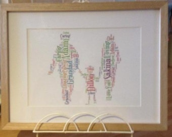 A4 Personalised Word Art Family Print (UK ONLY)/Download
