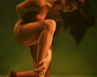 "figure painting: ""emerald"""