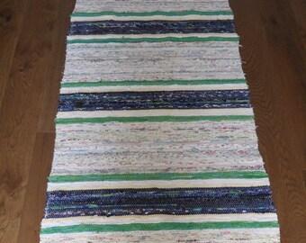Vintage Swedish Handwoven Rag Rug 183 x 70 cms