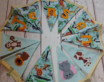 Jungle bunting, children's bunting, jungle garland, personalised bunting, jungle flags, jungle animals, bedroom bunting, christening gift