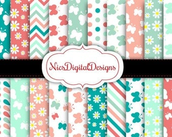 Buy 2 Get 1 Free-20 Digital Papers. Butterfly Patterns in Coral and Mint (4B no 11) for Personal Use and Small Commercial Use Scrapbooking