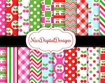 Buy 2 Get 1 Free-20 Digital Papers. Cherry Mixed Patterns (13D no 5) for Personal Use and Small Commercial Use Scrapbooking