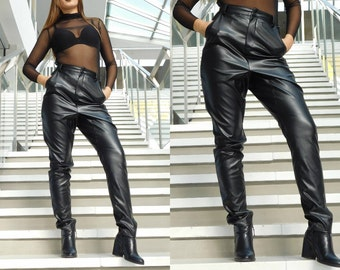 New PU Leather Pants Thick Large Zipper Pocket Harem Pantsin Pants