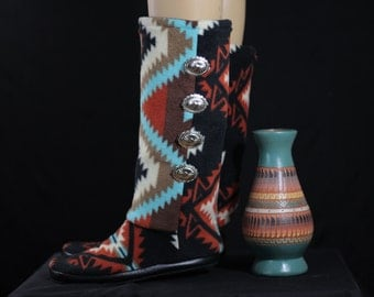 ADULT: Native American Southwest Design (Black) Footwear