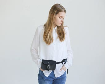 Leather Belt Bag (Black) - One compartment to fit your minimal essentials – a mobile, a small wallet, keys and cards.
