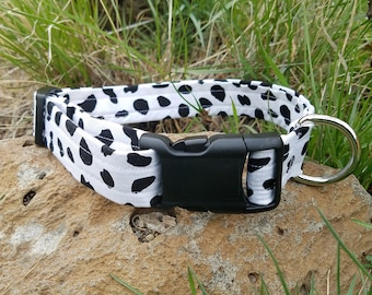 Black and White Cow Spot Print Dog Collar *Limited Supply*