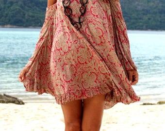 Summer Mini Dress, Beach Dress, Off the Shoulder Mini Dress, Beach Cover up, Tie Dye Mini Dress, Hippie Gipsy Mini Dress, Ibiza Mini Dress,