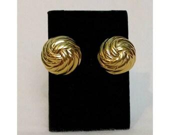 Ciner Gold Swirl Circle Earrings Clip Ons