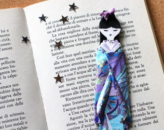 Bookmark with doll in fine Japanese paper-wood base
